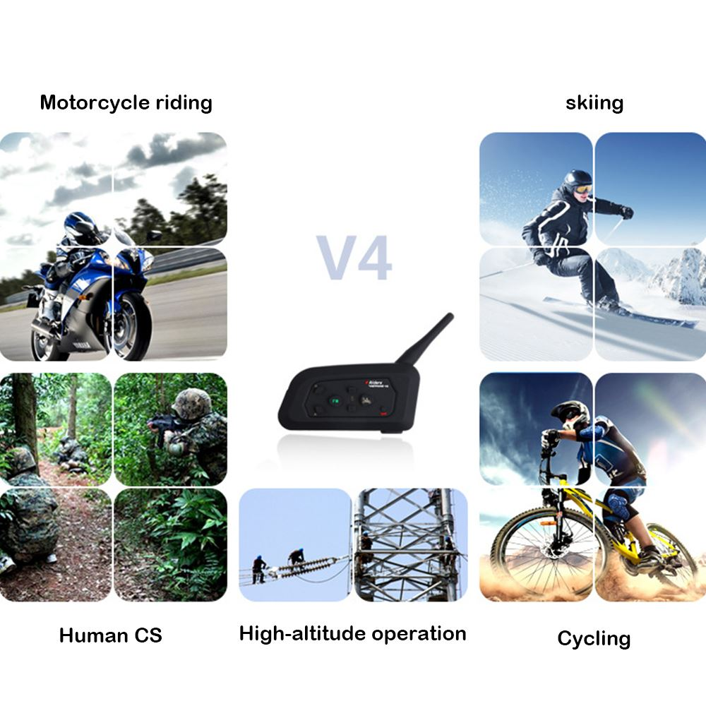 Motocycle Helmet V4 Intercom Headset Intercom Moto Bluetooth 850mAh 4 People Wireless Communication Waterproof FM Radio Intercom