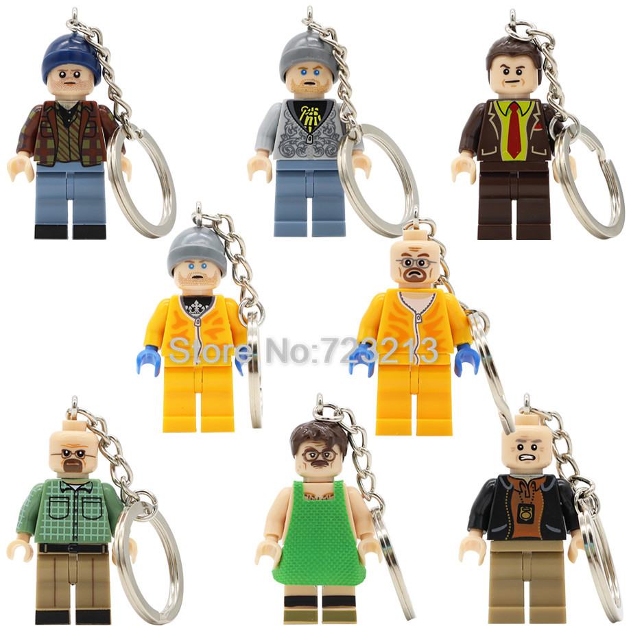 TV Breaking Bad Figure Keychain Walter White Jesse Pinkman Hank Schrader Lawyer Saul Building Blocks Model Toys Legoing