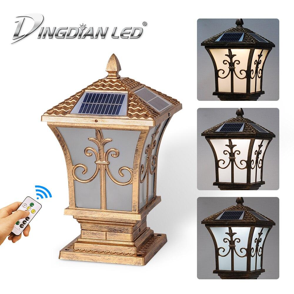 Ao ar livre de controle remoto solar luz do jardim lâmpada ferro ip65 à prova dwaterproof água 3 cor mudando para o uso quintal ao ar livre dingdian lanterna - 3