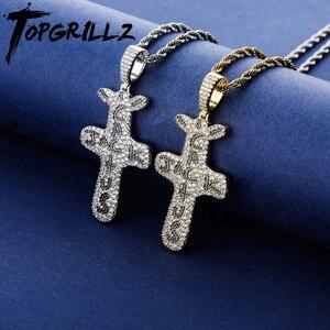 Image 1 - TOPGRILLZ pendentif et collier Jack Cactus glacé, Zircon cubique plaqué or argent, bijou Hip Hop pour hommes et femmes