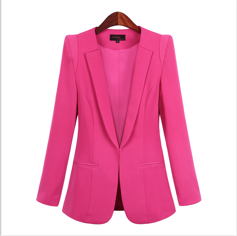 2019 Korean Small Suit Jacket Women Autumn Spring New Long Sleeve Hidden Breasted Work Blazer Suit  Plus Size