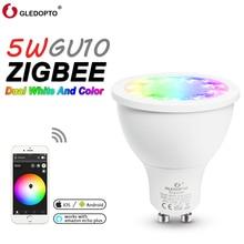 Smart LED Home Bulb RGB+CCT 5W GU10 Smart Led Spotlight Smart Home AC100-240V Color Change Led Dual White Light Phone Remote