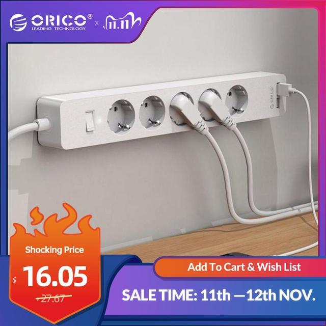 Orico usb tomada de tira de energia com 2 usb 2.4a carregamento rápido padrão extensão tomada tira de energia adaptador eletrônica casa