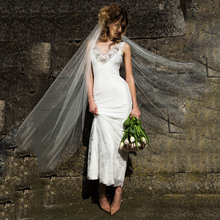 Wedding-Dresses Tulle Appliques Lace Elegant Sleeveless V-Neck Floor-Length Thinyfull