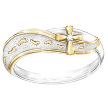 New Simple Two Tone Cross Ring For Women Stainless Steel Religious Jewelry Crystal Engagement Party Rings(China)