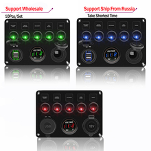 10pcs 5Gang Waterproof Switch Panel For Car Boat Yacht Caravan Truck With Voltmeter Dual USB Socket 12 24V LED Accessories Set