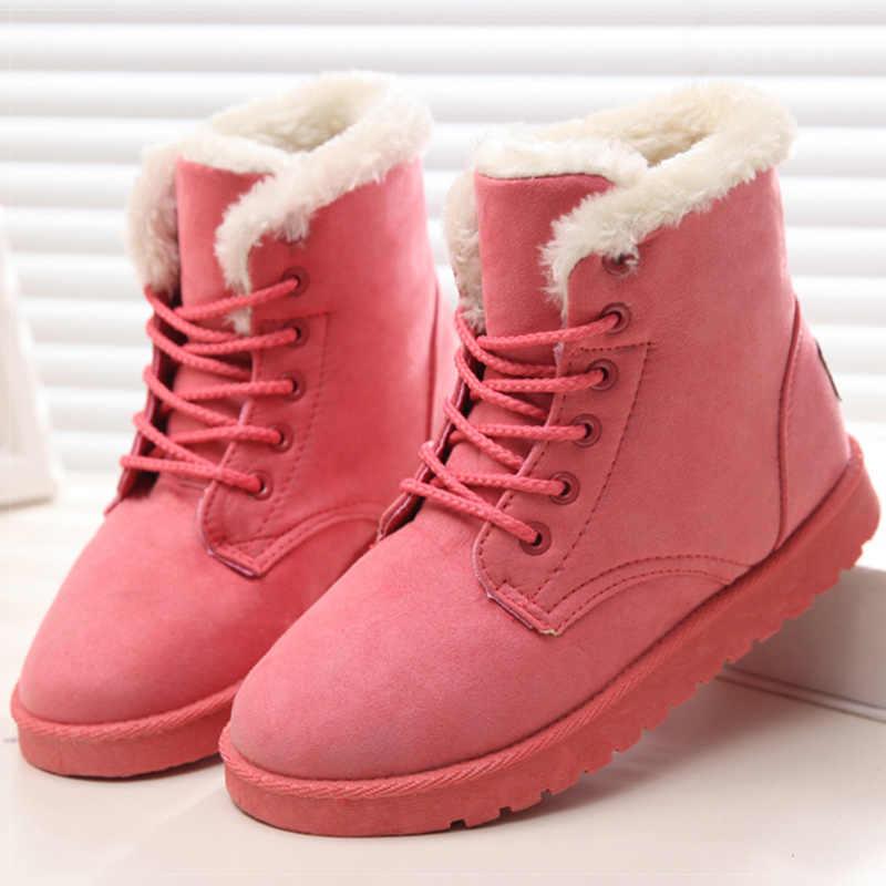 Giày Bốt Nữ Ấm Sang Trọng Ủng Giả Da Lộn Mùa Đông Giày Người Phụ Nữ Botines Cổ Điển Mùa Đông Giày Cho Nữ Mắt Cá Chân Botas Mujer