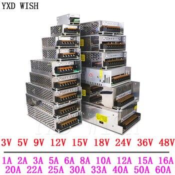 3V 5V 9V 12 V 15V 18V 24V 36V fuente de alimentación 1A 2A 3A 5A 6A 8A 10A 20A 50A potencia de conmutación fuente de alimentación de 12 V voltios 220V a 12 V AC-DC SMPS