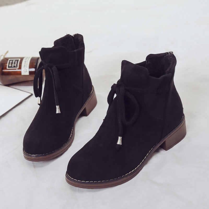 Femmes bottines hiver chaud femme chaussures à lacets bout rond troupeau femme bottes mode confortable chaussures pour dames offre spéciale