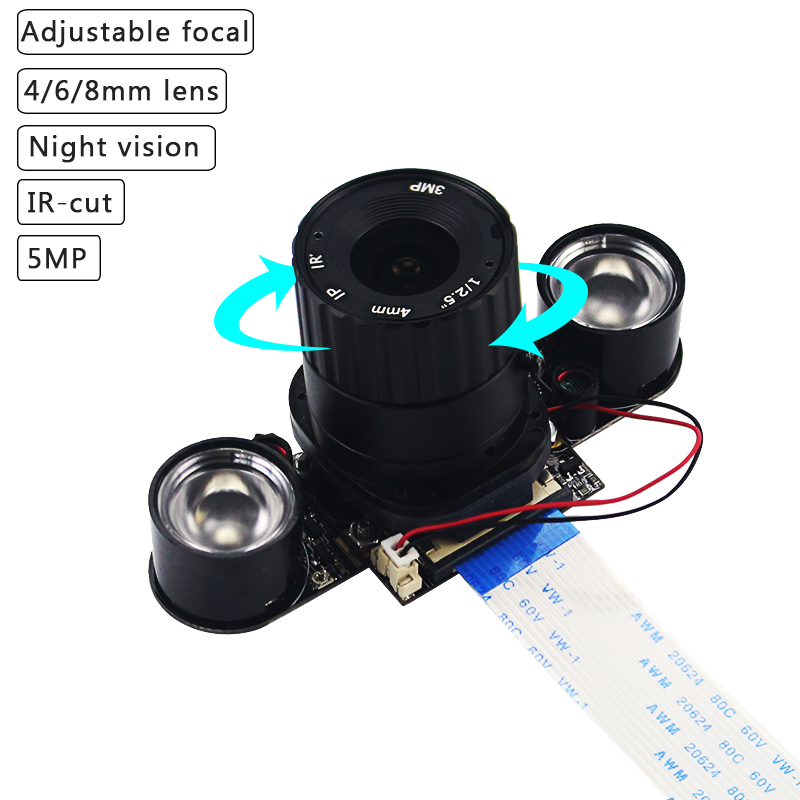 Raspberry Pi 4 IR-CUT Camera 4mm 6mm 8mm Adjustable Focal Night Vision Camera Webcam + 2 IR Lights  For Raspberry Pi 4B/3B+/3B
