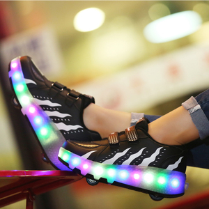 Image 5 - Kids Glowing Sneakers with Wheels Led Lights Up Shoes Women Roller LED lighting Shoes Child Sports Boy Luminous Sneaker EU 27 41