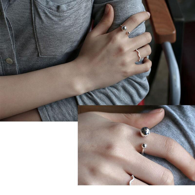 925 Sterling Silver Jewelry Big And Small Double Ball Beads Opening Rings For Women Bague Anillos S-R167