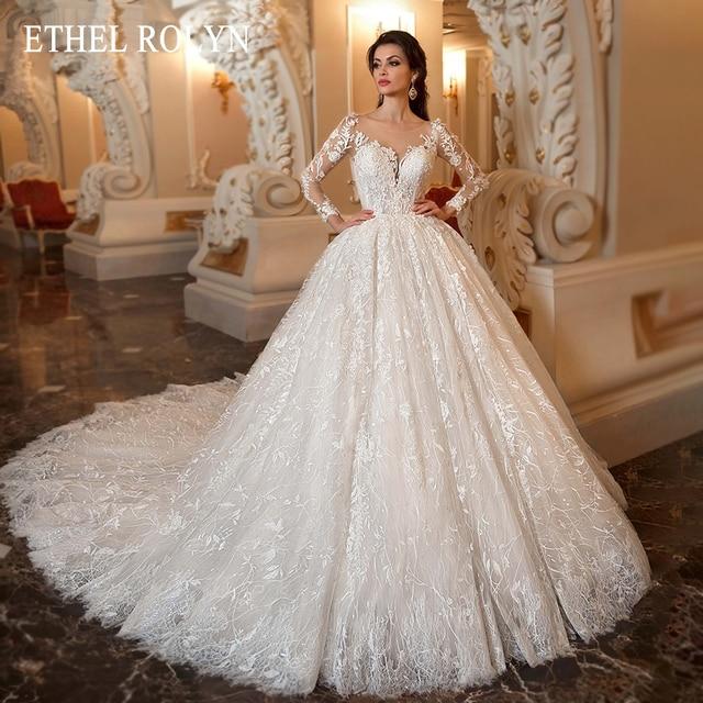 ETHEL ROLYN Lace Ball Gown Wedding Dress 2021 Long Sleeve Beading Appliques Vintage Bridal Princess Bride Dresses Robe De Mariee 1