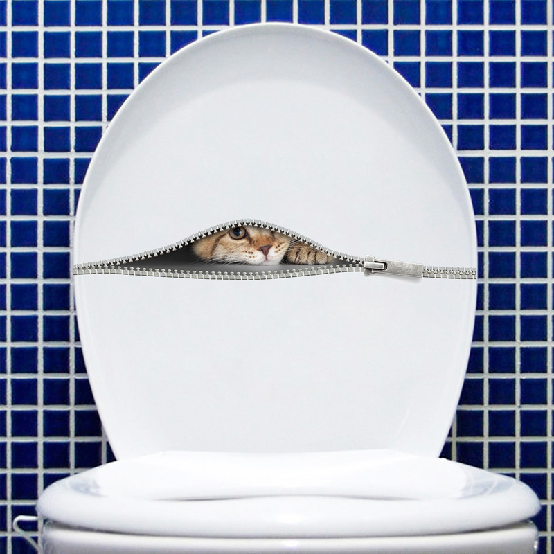 Cute Cat in the zipper Wall Sticker cabinet bathroom toilet for home decoration art Decals wallpaper toilet stickers on the wall