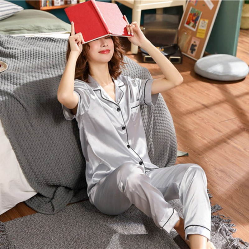 Womens Silk Satin Pajamas  Set Short Sleeve Sleepwear Pijama Pajamas Suit Female Sleep Two Piece Set Sleepwear Large Size X