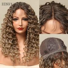 HENRY-Suarez oscuro largo rizado de la onda peluca con malla frontal pelucas de pelo sintético negro mujer arrancado de cierre de encaje peluca con cabello de bebé