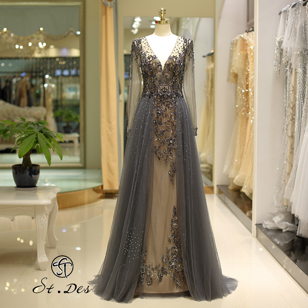 NEW 2020 St.Des A-line Russian V-neck Gray Champagne Beading Long Sleeve Beauty Queen Floor Length Evening Dress Party Dress