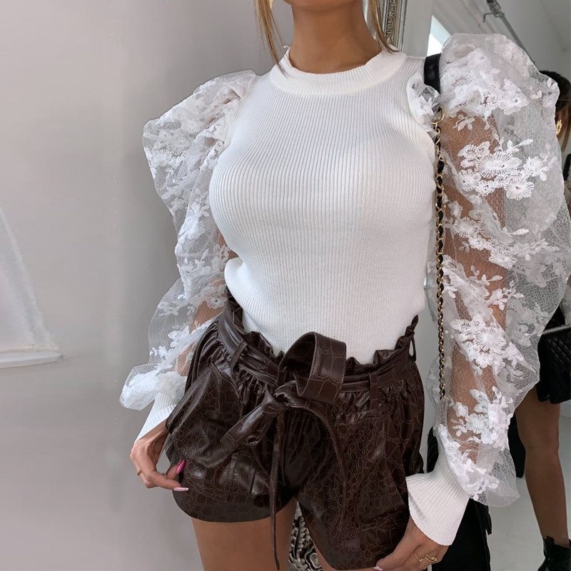 Weekeep Mesh Long Sleeve O-neck T Shirt Women High Street Tee Shirt Femme 2020 Spring Summer Tops 2020