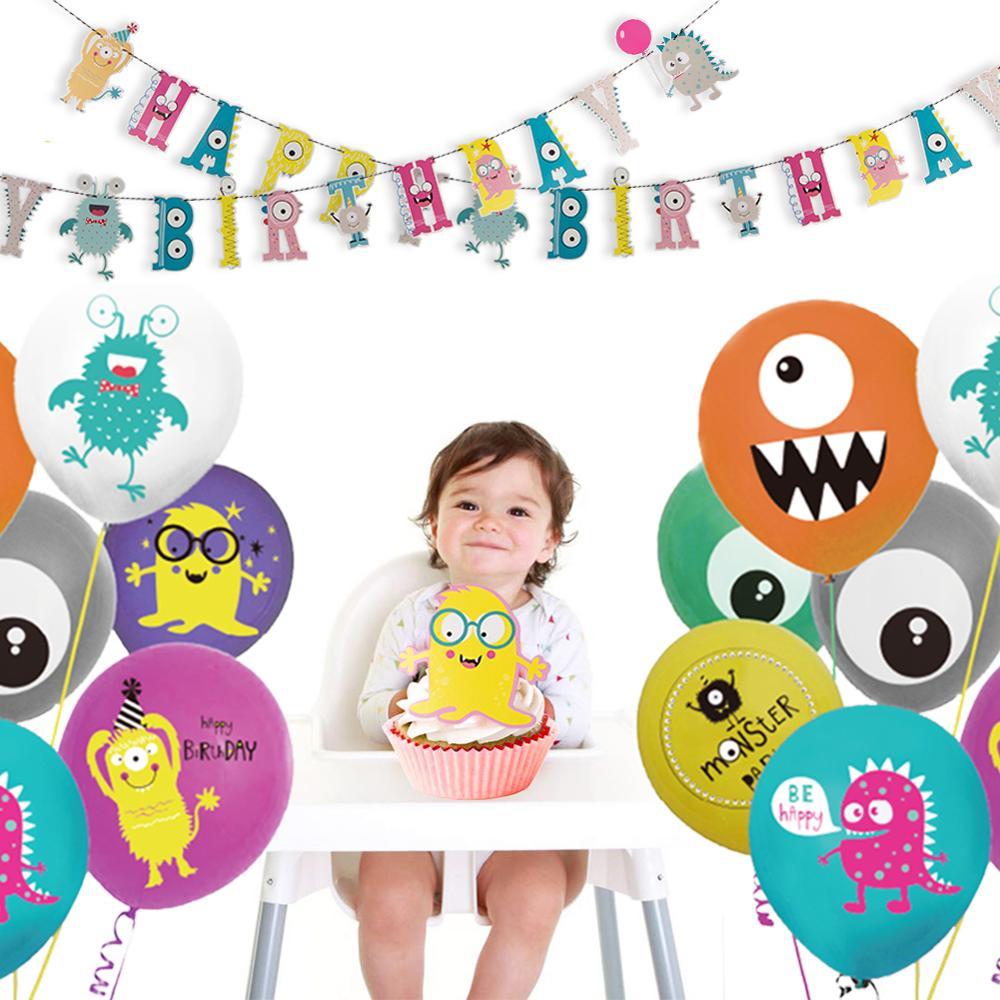 Декорации с днем рождения маленький монстр, баннер на день рождения для мальчиков и девочек, украшения для дня рождения, декор для детской в...