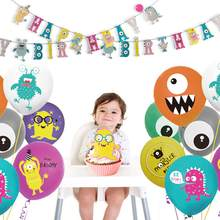 Gelukkige Verjaardag Decoraties Kleine Monster Gelukkige Verjaardag Banner Jongens Meisjes Voor Birthday Party Decoraties Kids Baby Shower Decor(China)