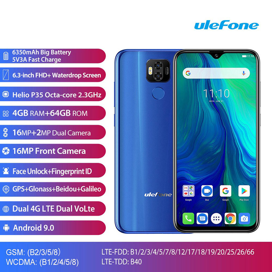 "Image 2 - Ulefone power 6 Smartphone Android 9.0 Helio P35 Octa core 6350mah 6.3"" 4GB 64 GB 16MP face ID NFC 4G LTE Global Mobile Phones-in Cellphones from Cellphones & Telecommunications"