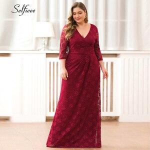 Plus Size Women Lace Dress Elegant Mermaid V Neck Three Quarter Sleeves Long Party Dresses Autumn Winter Vestidos De Festa 2020