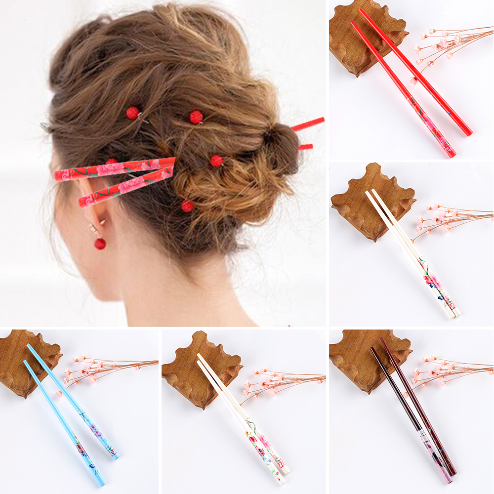 1Pc Hot Sale Colorful Natural Wood For Women Japanese Wood Hairpin  Hair Stick Handmade Hair Stick Vintage Painting Hairpin
