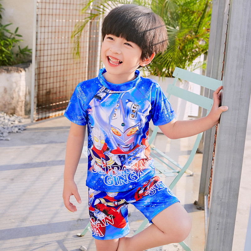 Hot Springs BOY'S CHILDREN'S Swimwear Children Cartoon Ultraman Split Type Short Sleeve Boxers Hot Springs CHILDREN'S Swimwear