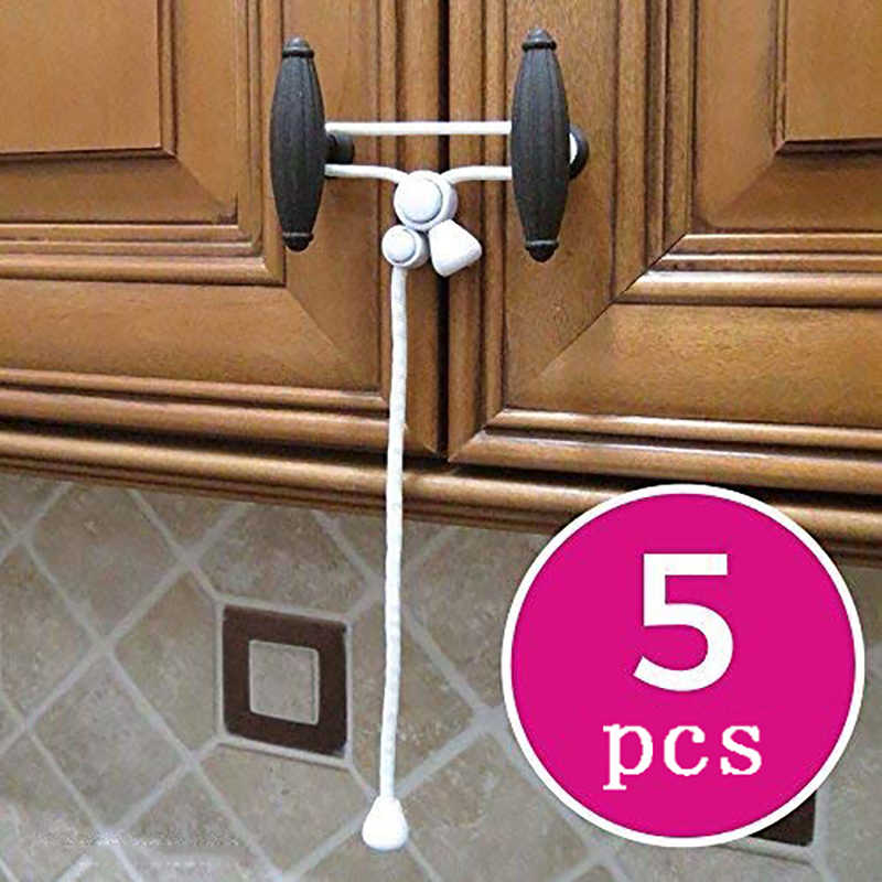 5 Pcs Baby Safety Cabinet Lock Rope For Knobs Kitchen Buckle Hooks Door Child Safe Cabinet Latches Strap For Kids