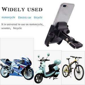 Image 3 - 360 Degree Universal Bike Aluminum Alloy Motorcycle Motorbike Handlebar Phone Holder Stand Mount For 4 6.4 inch Mobile Phone