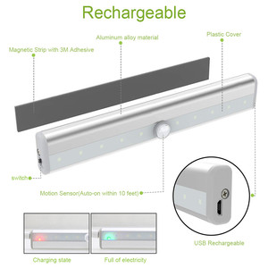 Image 2 - PIR Under Cabinet Light USB Rechargeable Motion Sensor Closet Lights Wireless Magnetic Stick on Cordless 10 LED Night Light Bar