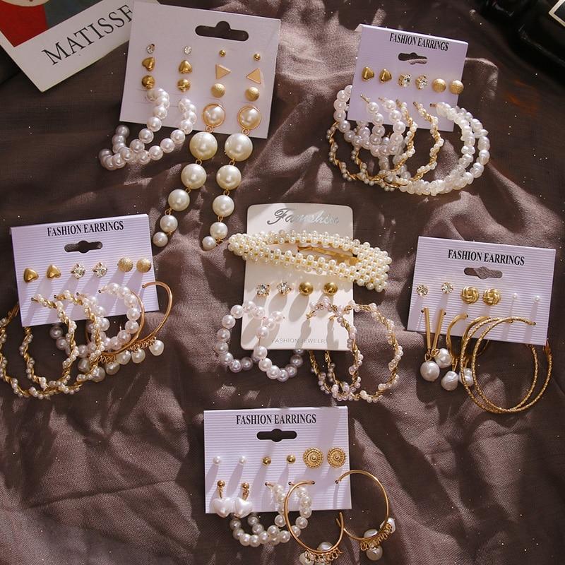 FNIO Acrylic Pearl Earrings Set For Women Bohemian Tassel Drop Earrings Fashion Jewelry 2020 Geometric Kolczyki Hoop Earings