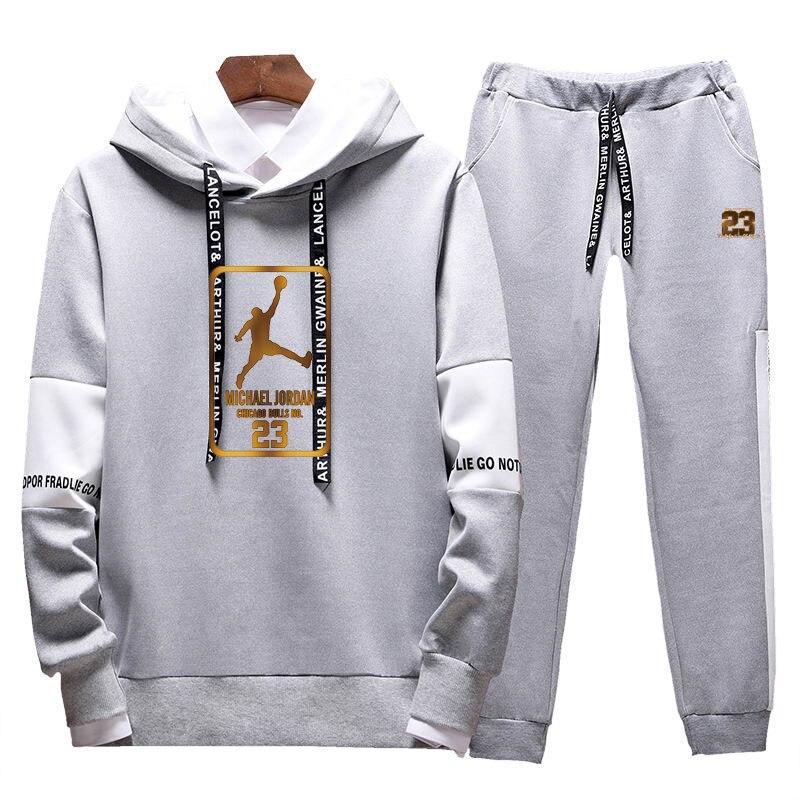 2019Two Pieces Set Fashion Hooded Sweatshirts Sportswear Men  Tracksuit Hoodie  New Autumn Men Brand Clothes Hoodies Pants SetsMens  Sets