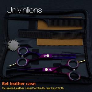 "Image 3 - 5.5"" titanium purple cutting scissors hairdresser razor hairdressing scissors haircut hot scissors kit salon hair clipper kids"
