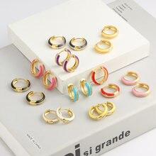 Enamel Small Hoop CZ Rainbow Earrings For Women, Chic Zircon Earrings Party Wedding Boho Jewelry