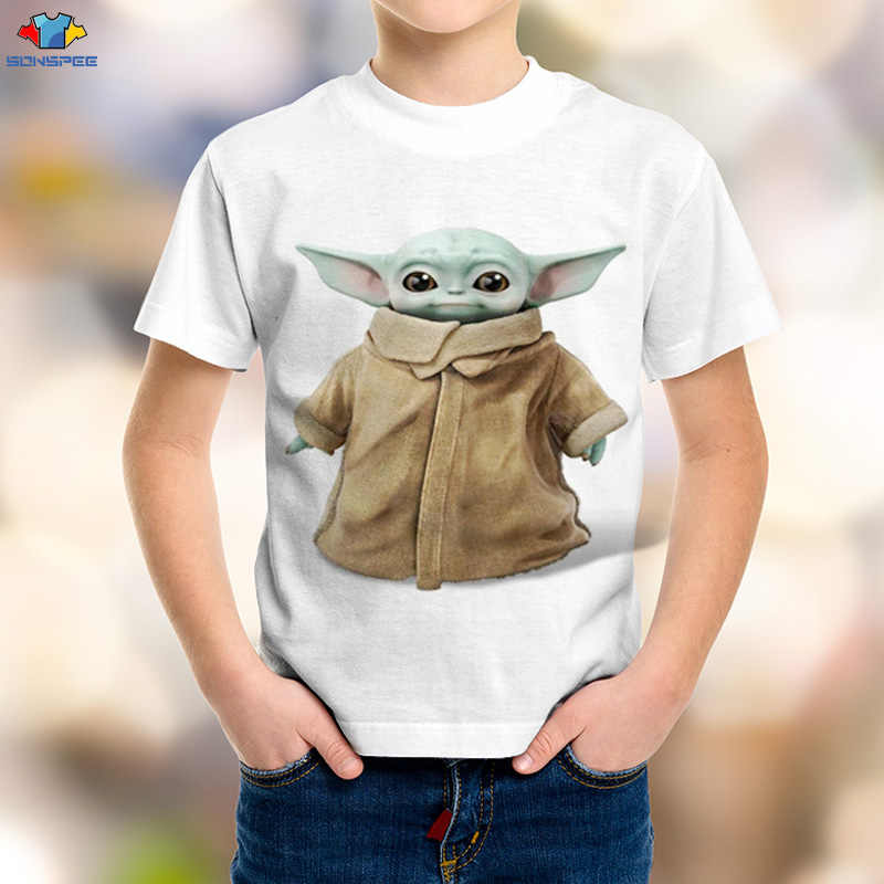 Sonspee 3D Jongen Science Fiction Film Star Wars Kinderen T-shirt Ruimte Oorlog De Mandalorian Mannen Shirt Kawaii Yoda Baby kinderen Top