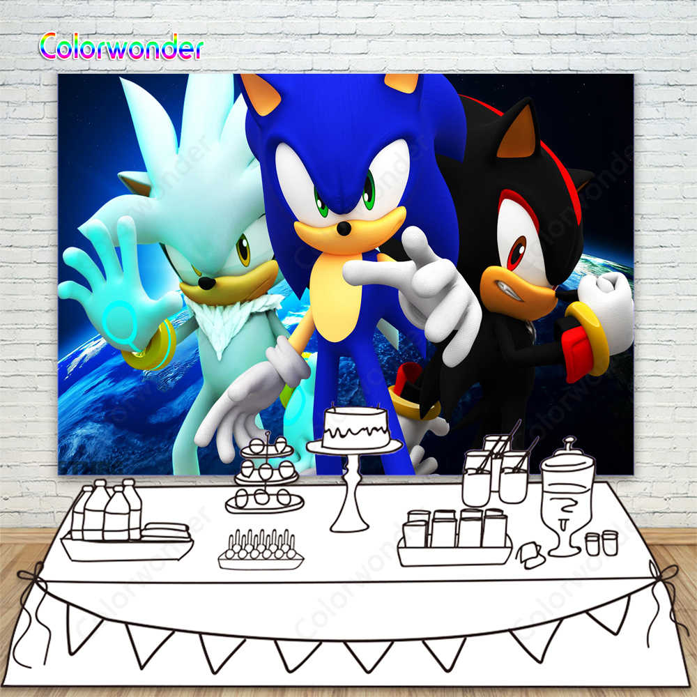Shadow Silver And Sonic The Hedgehog Backdrops Forchildren Boys Photography Blue Earth Photo Backgrounds Photocall For Birthday Aliexpress