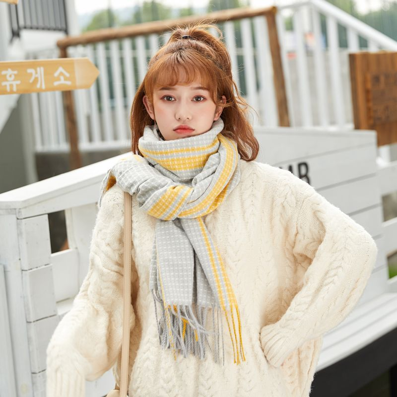 2020 Autumn Winter New Thick Cashmere Scarf Women'S Warm Fashion Bufanda Wild Plaid Color Striped Fringed Shawl Pañoletas Mujer