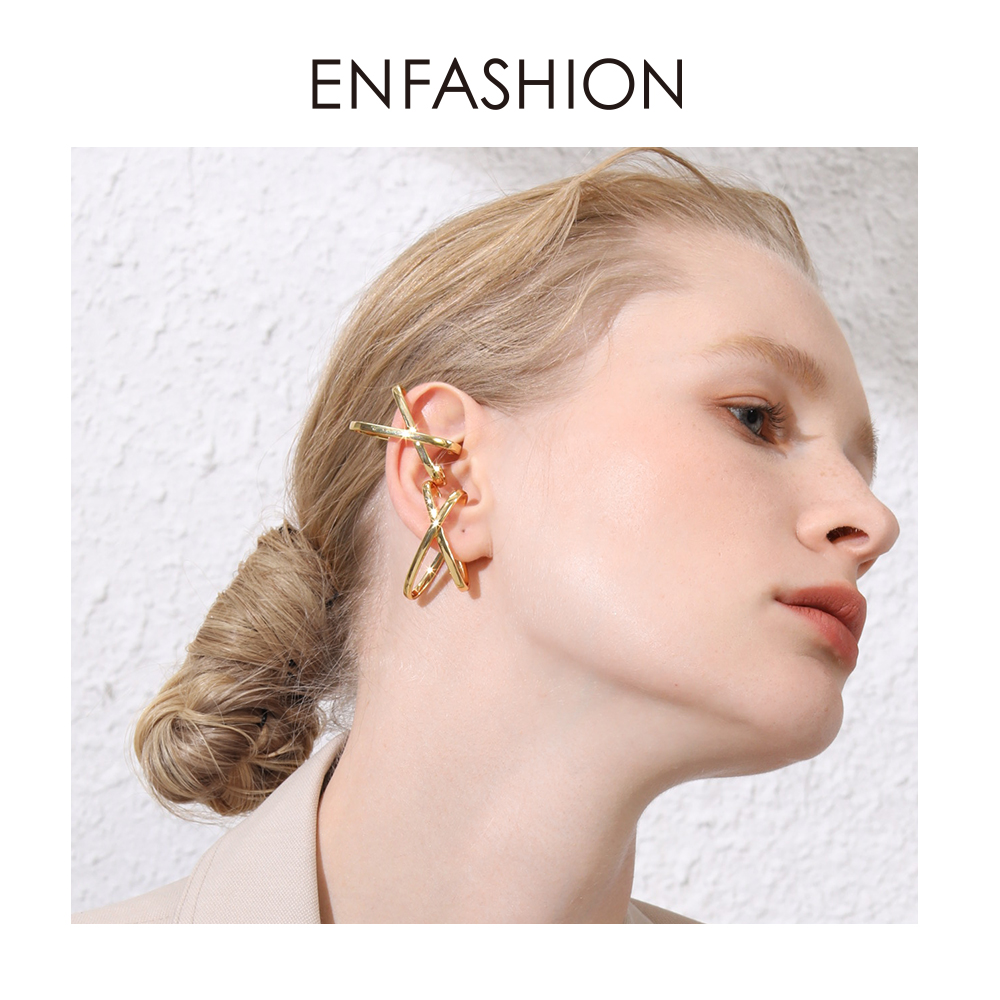 ENFASHION X Shape Simple Ear Cuff Clip On Earrings For Women Gold Color Punk Geometric Earings Without Piercing Jewelry EC191068