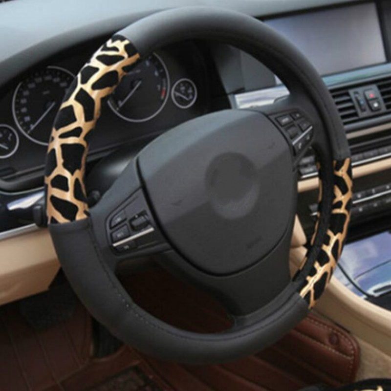 Personalized Leopard Print Car Steering Wheel Cover Plush Golden Silvery Steering Covers Accessories Auto Upholstery Supplies