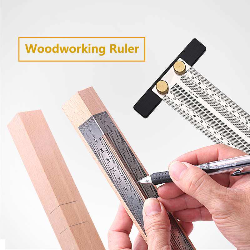 High-precision Scale Ruler T-type Hole Ruler Stainless Woodworking Scribing Mark Line Gauge Carpenter Crossed-out Measuring Tool