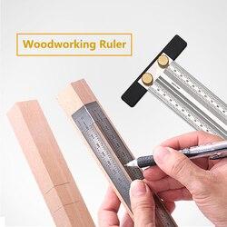 Régua de escala de alta precisão tipo t régua buraco inoxidável carpintaria scribing marca linha calibre carpenter cruz-para fora ferramenta de medição