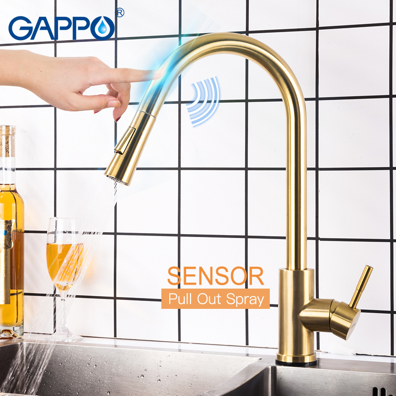 GAPPO Kitchen-Faucets Taps Sink Smart-Sensor Pull-Out Stainless-Steel