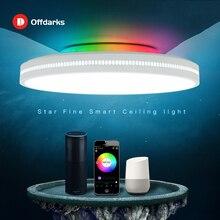 โคมไฟเพดาน LED โมเดิร์น RGB dimming 48W/60W APP wifi เสียงอัจฉริยะควบคุมห้องนั่งเล่นห้องนอนห้องครัวโคมไฟเพดาน