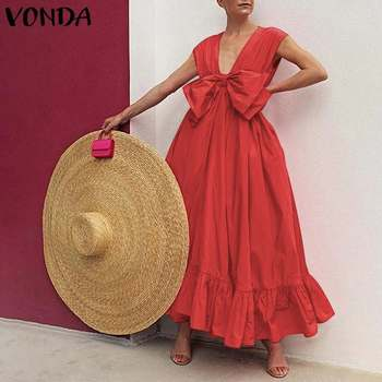 Party Maxi Long Dress 2020 VONDA Women Bohemian Tank Dress Vintage Bowknot Sundress Beach Deep V Neck Ruffled Vestidos Plus Size vonda summer dress 2020 women sexy ruffled neck sleeveless tank mini dresses plus size bohemian party robe femme vestidos