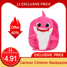 3D Cartoon Children Backpacks Cute Plush Shark Mini School Bags Animal kindergar