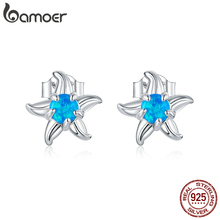 bamoer Blue Opal Starfish Stud Earrings for Women 925 Sterli