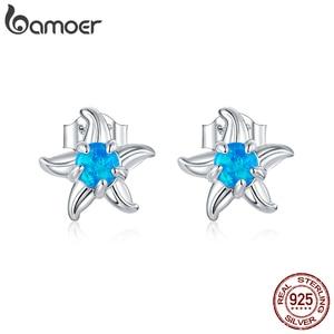 bamoer Blue Opal Starfish Stud