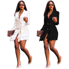 Echoine women blazer Slim-fit waist double-row suits female fringed jacket long sleeve twee
