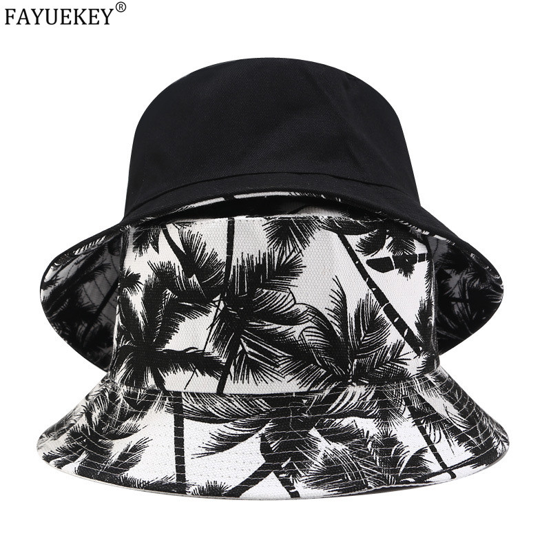 2020 New Fashion Summer Reversible Black White Coconut Tree Printed Fisherman Caps Bucket Hats Unisex Gorro Pescador Men Women